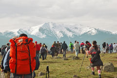 Hiking in the mountains. Hikers on location stock photography