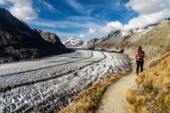 Hiking Mountains Aletsch Glacier Switzerland stock photo