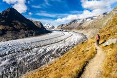 Hiking Mountains Aletsch Glacier Switzerland royalty free stock images
