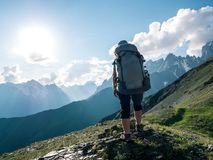 Hiking in mountains stock images