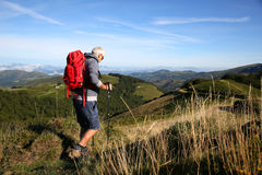 Hiking in the mountains on a beautiful summer day Royalty Free Stock Photo