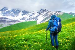 Hiking in mountains stock image