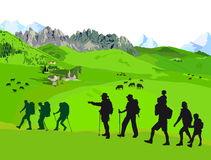 Hiking on mountains. An illustration of group of people hiking on the meadows near mountains Royalty Free Stock Images