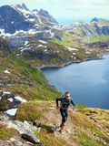 Hiking in the mountains of Lofoten Norway Royalty Free Stock Photo