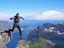 Hiking in the mountains of Lofoten Norway Stock Images