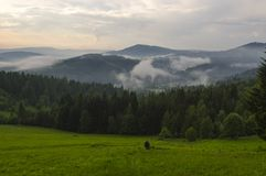 Hiking in the mountains. Hiking in the Polish Beskids Mountains royalty free stock images
