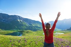 Hiking in mountains in spring royalty free stock photography