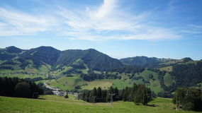 Hiking Mountains Summer Switzerland. Green Alps Tourism Stock Photography