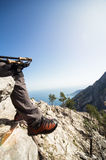 Hiking in the mountains on a sunny day. Stock Photography
