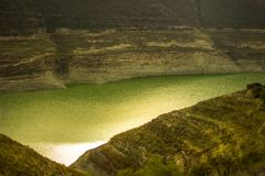 Hiking in the mountains through the valleys to Alassa Dam stock photography