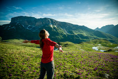 Hiking in mountains Royalty Free Stock Images