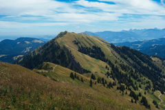 Hiking on the Nagelfluhkette in the German alps. On a sunday afternoon Stock Photos