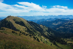 Hiking on the Nagelfluhkette in the German alps. On a sunday afternoon Royalty Free Stock Photo