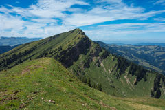 Hiking on the Nagelfluhkette in the German alps Stock Images