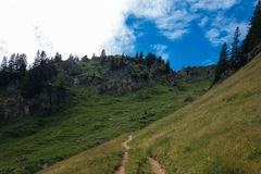 Hiking on the Nagelfluhkette in the German alps Stock Photo