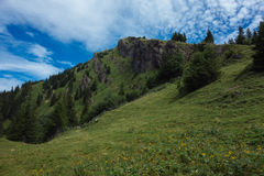 Hiking on the Nagelfluhkette in the German alps Royalty Free Stock Photography