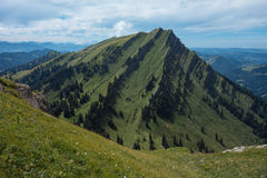 Hiking on the Nagelfluhkette in the German alps Stock Image