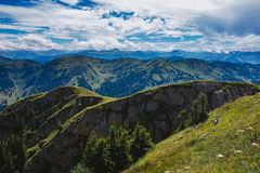 Hiking on the Nagelfluhkette in the German alps Royalty Free Stock Photo