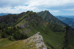 Hiking on the Nagelfluhkette in the German alps. On a sunday afternoon Royalty Free Stock Photos