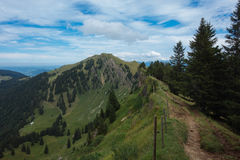 Hiking on the Nagelfluhkette in the German alps Royalty Free Stock Image