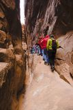 Hiking Narrow Trail. Haiking a narrow trail in the Fiery Furnace in Arches National Park, Utah, USA Stock Image