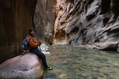 Hiking the Narrows in Zion NP Royalty Free Stock Photo