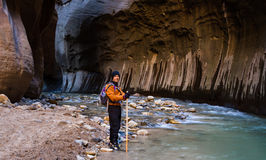 Hiking the Narrows in Zion NP Stock Image