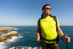 Hiking in the national park along the sea. Royalty Free Stock Photos