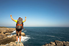 Hiking in the national park along the sea. Stock Image