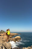 Hiking in the national park along the sea. Royalty Free Stock Images