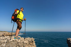 Hiking in the national park along the sea. Stock Photo