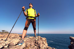 Hiking in the national park along the sea. Stock Images