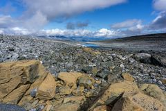 Hiking in the national park jotunheimen in norway at summer stock photos