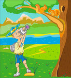 Hiking on nature. Scout photographs outdoors squirrels sitting on a tree Stock Image