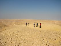 Hiking in Negev Desert Stock Photography