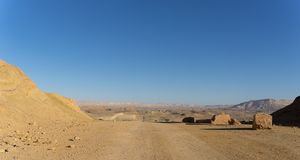 Hiking in Negev desert of Israel royalty free stock photography