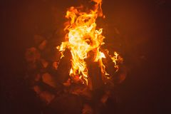 Hiking night bonfire in stones close up royalty free stock photo