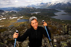 Hiking in Norway. Happy Hiker in Jotunheim national park, Norway stock images