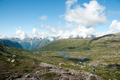 Hiking in the Norwegian mountains Stock Image