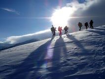 Hiking On Mountain Royalty Free Stock Photos