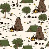 Hiking ornament with bear, marshmallows, hedgehogs, mushrooms and trees. Royalty Free Stock Photography