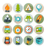 Hiking and outdoor icon set. Royalty Free Stock Images