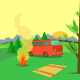 Hiking and outdoor recreation concept with flat camping travel. Vector Stock Photo