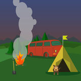 Hiking and outdoor recreation concept with flat camping travel. Vector Stock Photos