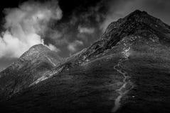 Hiking over the ridges of Transylvanian alps stock photo