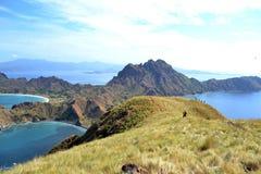 Hiking in Padar Island stock photo