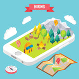 Hiking in a park isometric objects on mobile phone screen. Vector illustration in flat 3d style. Outdoor activity in. Mountain forest. Stay online everywhere Royalty Free Stock Image