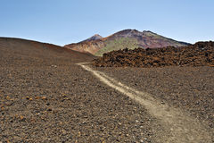 Hiking pass to Craters of Pico Viejo in Tenerife Island Stock Image