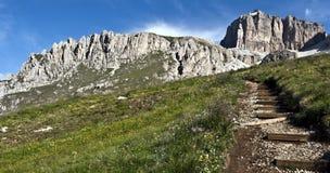 On the hiking from Passo Pordoi to Piz Boe in Dolomites Royalty Free Stock Image