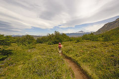 Hiking into the Patagonian Highlands Stock Photography